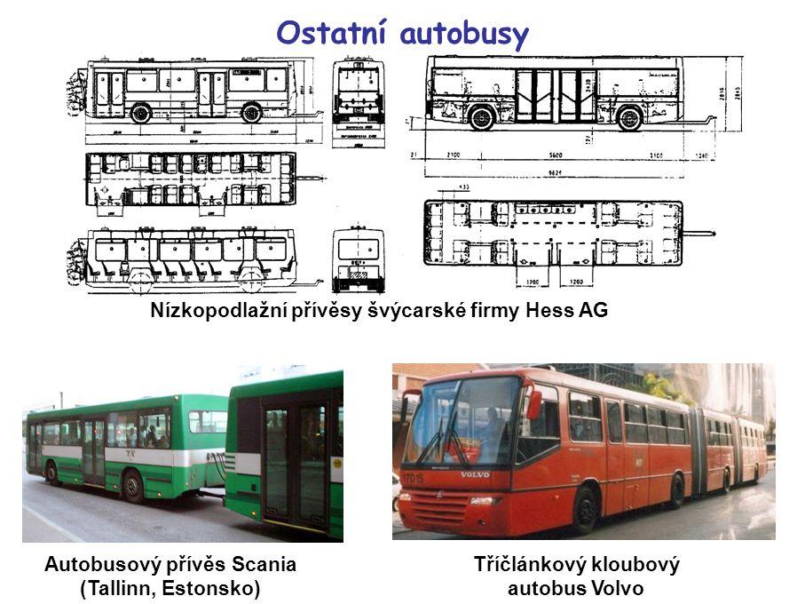Ostatní autobusy Nízkopodlažní přívěsy švýcarské firmy Hess AG Autobusový přívěs Scania (Tallinn, Estonsko) Tříčlánkový kloubový autobus Volvo