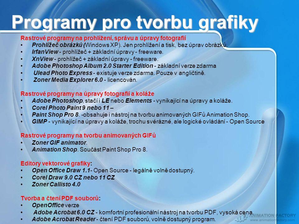 Programy pro tvorbu grafiky Rastrové programy na prohlížení, správu a úpravy fotografií Prohlížeč obrázků (Windows XP).