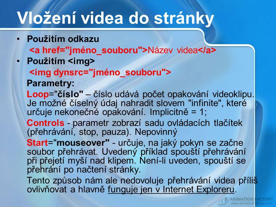 Vložení videa do stránky Použitím odkazu Název videa Použitím Parametry: Loop= číslo – číslo udává počet opakování videoklipu.