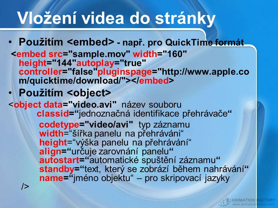 Vložení videa do stránky Použitím - např.
