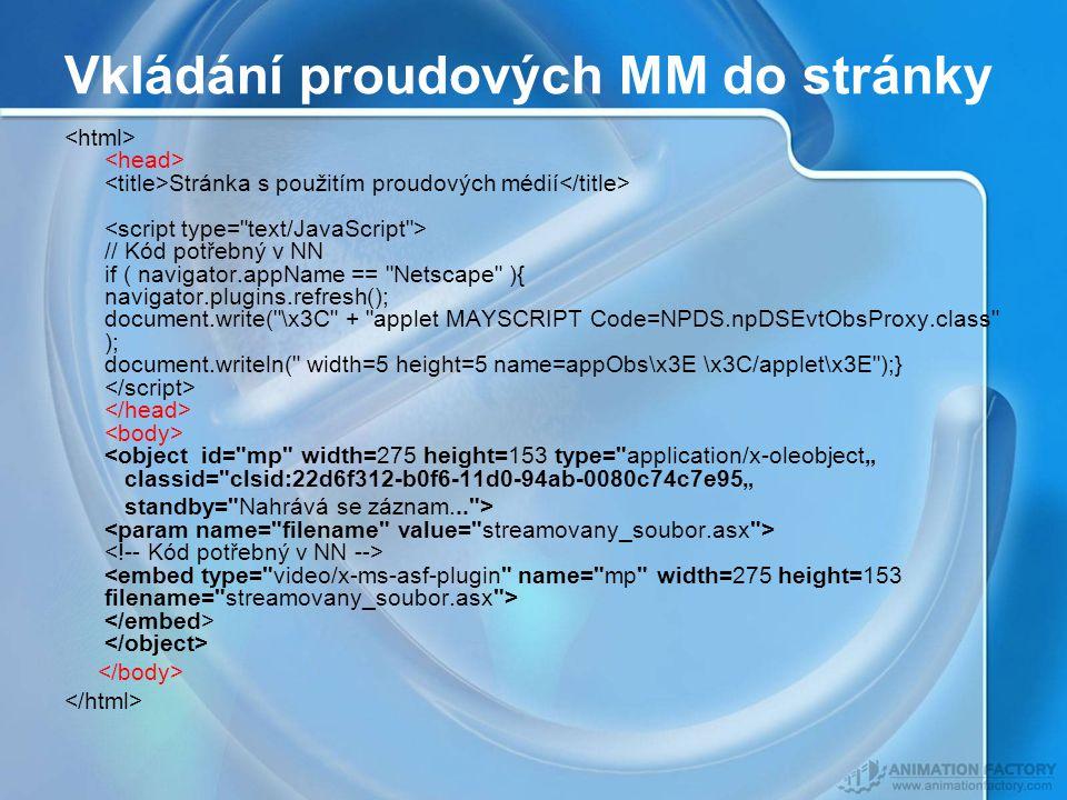 """Vkládání proudových MM do stránky Stránka s použitím proudových médií // Kód potřebný v NN if ( navigator.appName == Netscape ){ navigator.plugins.refresh(); document.write( \x3C + applet MAYSCRIPT Code=NPDS.npDSEvtObsProxy.class ); document.writeln( width=5 height=5 name=appObs\x3E \x3C/applet\x3E );} <object id= mp width=275 height=153 type= application/x-oleobject"""" classid= clsid:22d6f312-b0f6-11d0-94ab-0080c74c7e95"""" standby= Nahrává se záznam... >"""