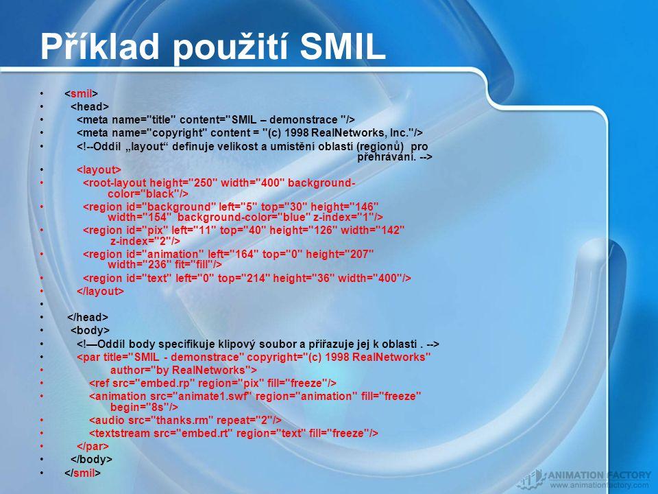 Příklad použití SMIL <par title= SMIL - demonstrace copyright= (c) 1998 RealNetworks author= by RealNetworks >