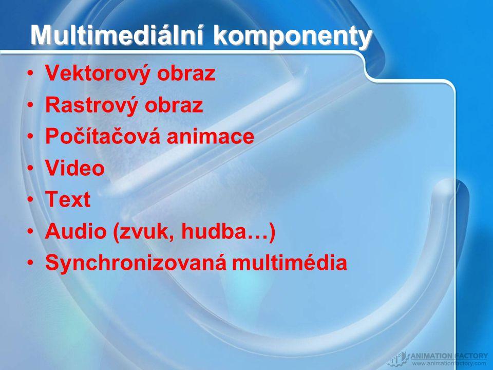 Multimediální komponenty Vektorový obraz Rastrový obraz Počítačová animace Video Text Audio (zvuk, hudba…) Synchronizovaná multimédia