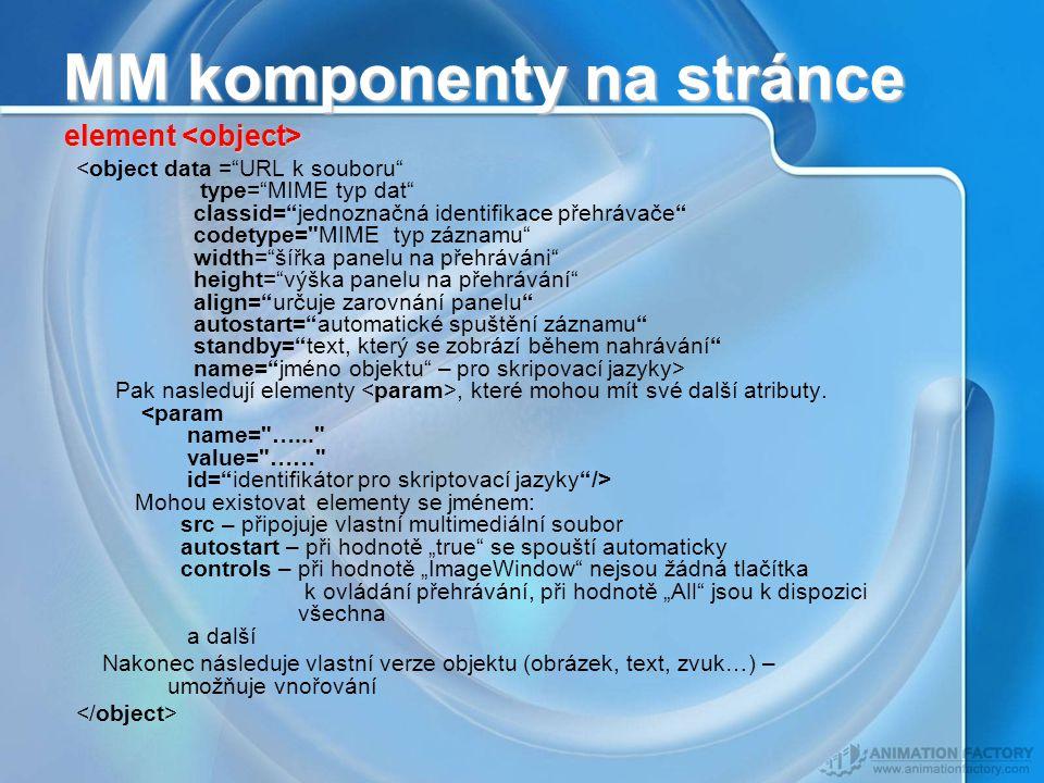 MM komponenty na stránce Pak nasledují elementy, které mohou mít své další atributy.