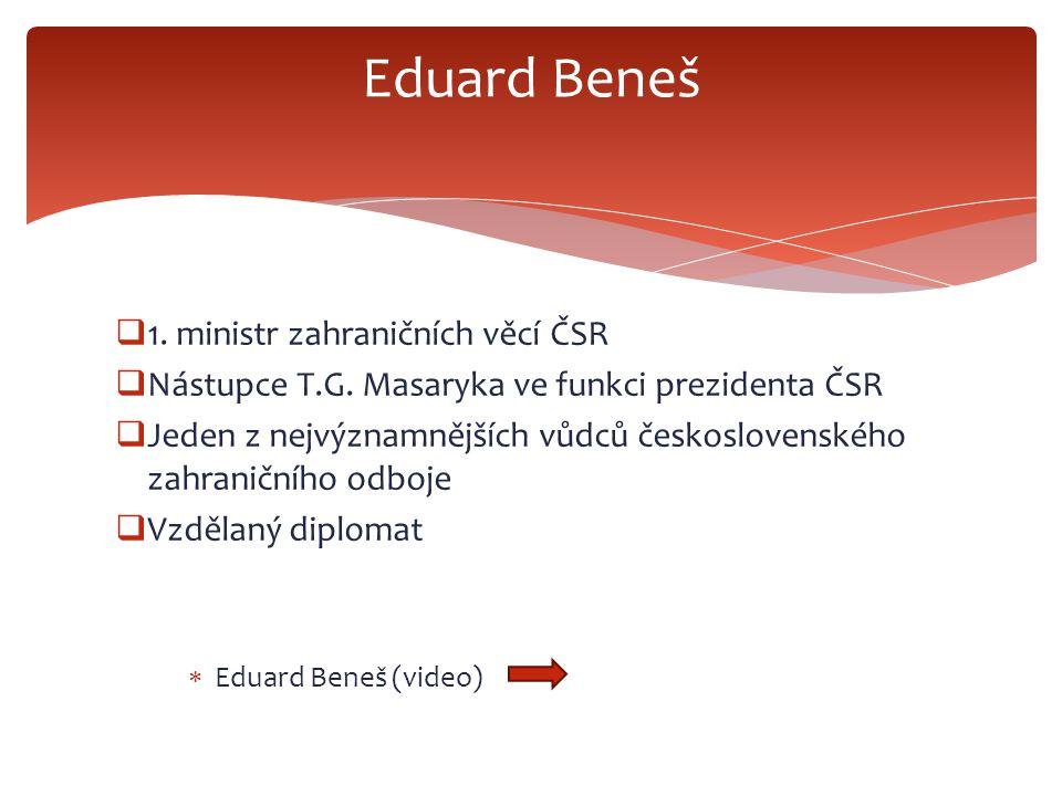  1. ministr zahraničních věcí ČSR  Nástupce T.G.