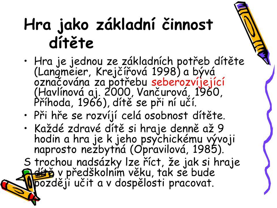 Hra jako základní činnost dítěte Hra je jednou ze základních potřeb dítěte (Langmeier, Krejčířová 1998) a bývá označována za potřebu seberozvíjející (Havlínová aj.