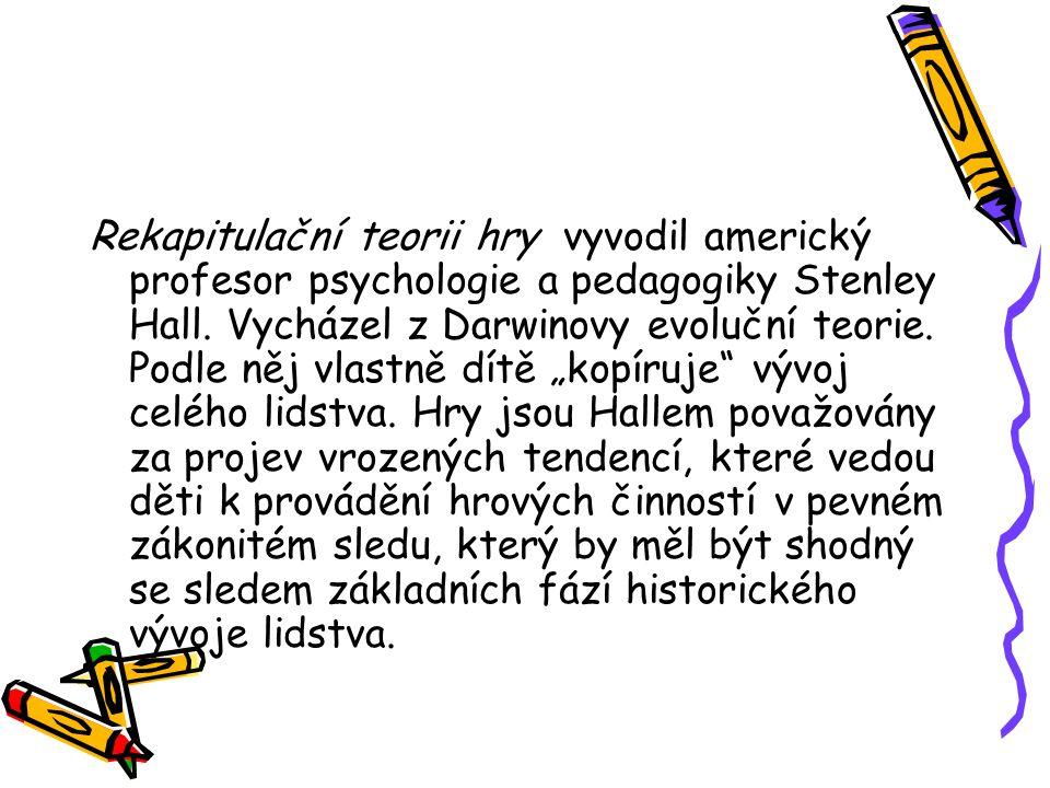 Rekapitulační teorii hry vyvodil americký profesor psychologie a pedagogiky Stenley Hall. Vycházel z Darwinovy evoluční teorie. Podle něj vlastně dítě