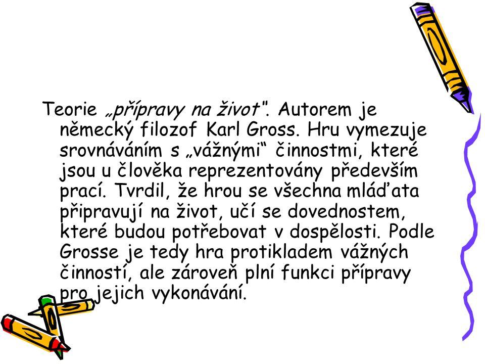 """Teorie """"přípravy na život . Autorem je německý filozof Karl Gross."""