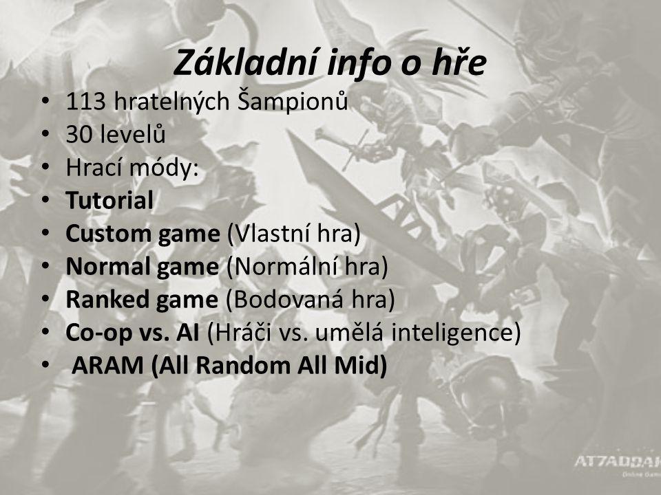 Základní info o hře 113 hratelných Šampionů 30 levelů Hrací módy: Tutorial Custom game (Vlastní hra) Normal game (Normální hra) Ranked game (Bodovaná hra) Co-op vs.