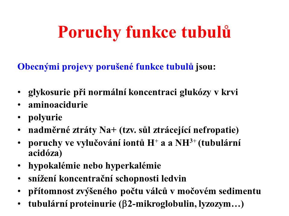 Poruchy funkce tubulů Obecnými projevy porušené funkce tubulů jsou: glykosurie při normální koncentraci glukózy v krvi aminoacidurie polyurie nadměrné ztráty Na+ (tzv.