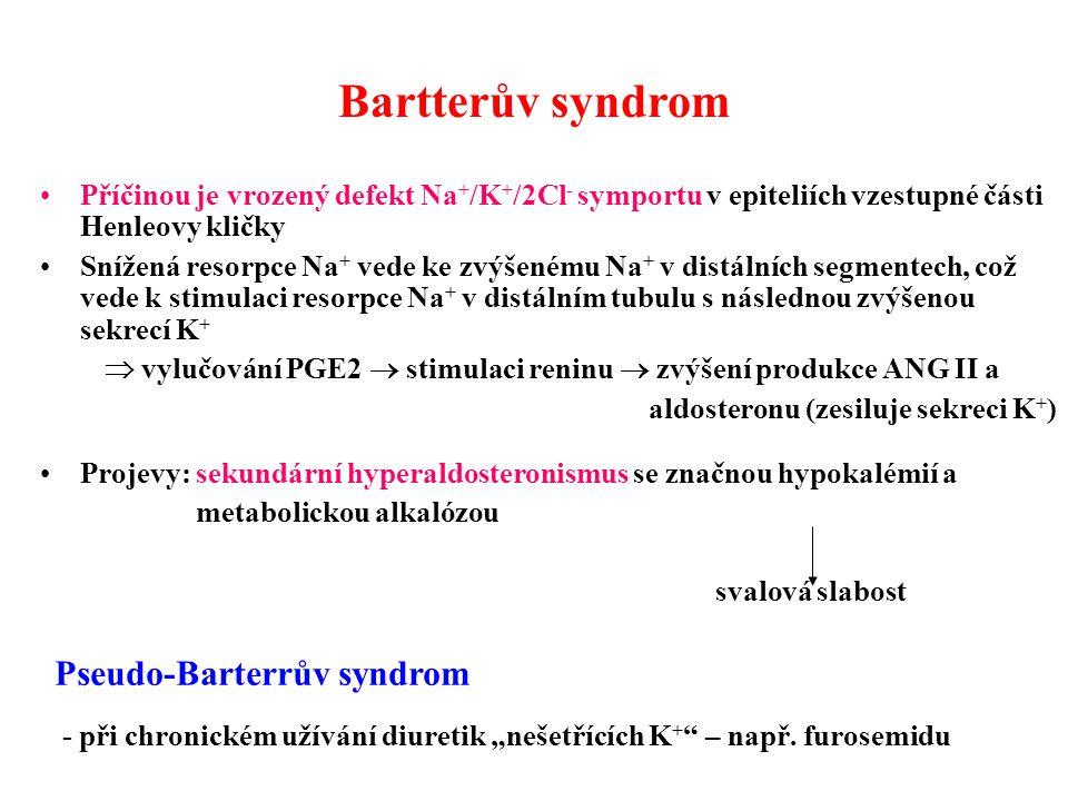 Bartterův syndrom Příčinou je vrozený defekt Na + /K + /2Cl - symportu v epiteliích vzestupné části Henleovy kličky Snížená resorpce Na + vede ke zvýš