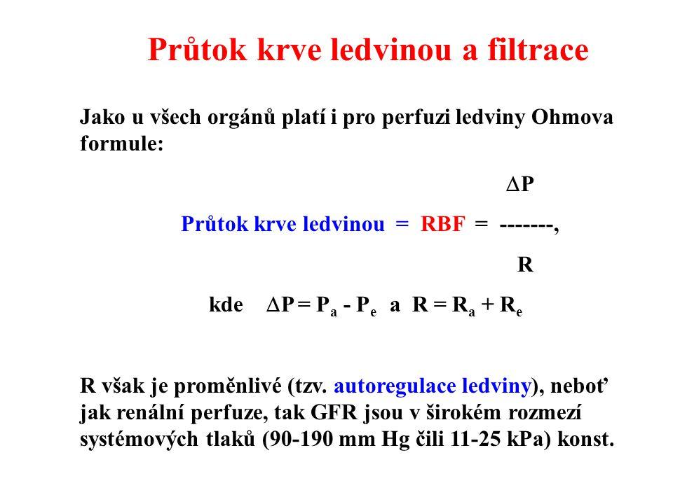 Průtok krve ledvinou a filtrace Jako u všech orgánů platí i pro perfuzi ledviny Ohmova formule:  P Průtok krve ledvinou = RBF = -------, R kde  P = P a - P e a R = R a + R e R však je proměnlivé (tzv.