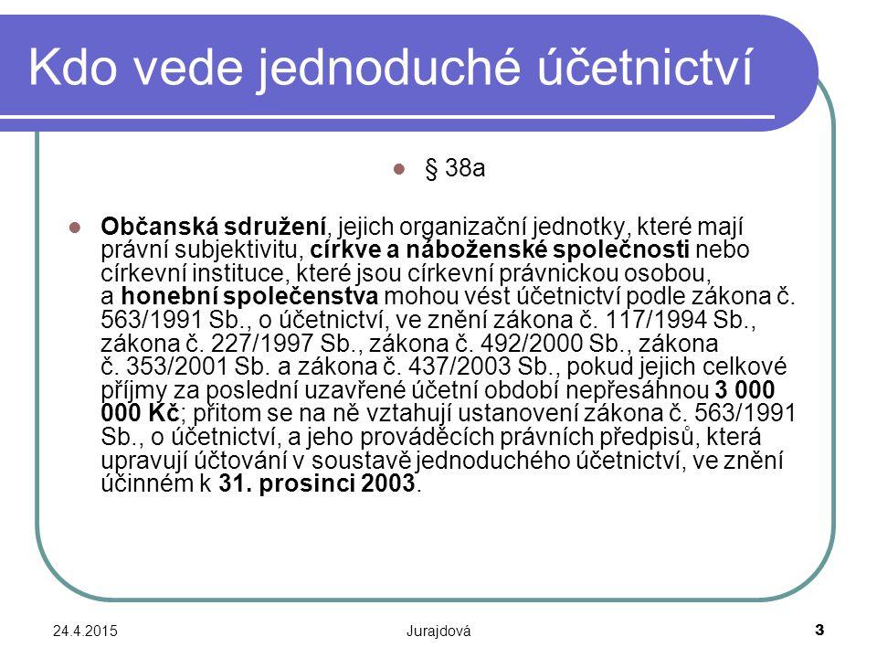 24.4.2015Jurajdová 3 Kdo vede jednoduché účetnictví § 38a Občanská sdružení, jejich organizační jednotky, které mají právní subjektivitu, církve a náb