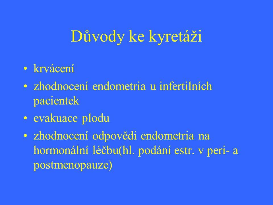 Důvody ke kyretáži krvácení zhodnocení endometria u infertilních pacientek evakuace plodu zhodnocení odpovědi endometria na hormonální léčbu(hl. podán