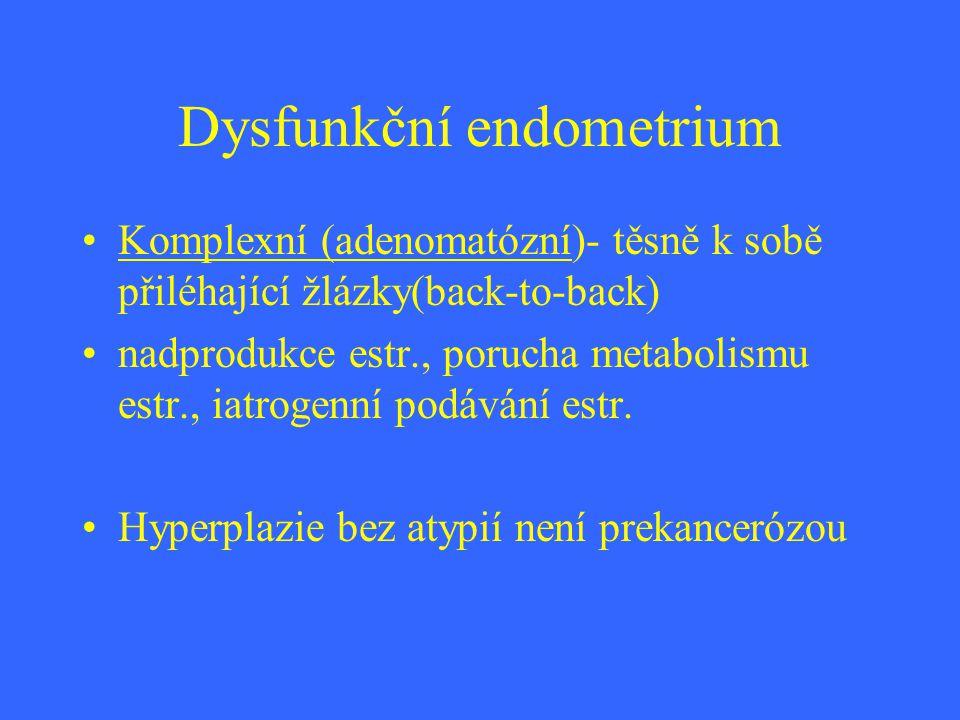 Dysfunkční endometrium Komplexní (adenomatózní)- těsně k sobě přiléhající žlázky(back-to-back) nadprodukce estr., porucha metabolismu estr., iatrogenn