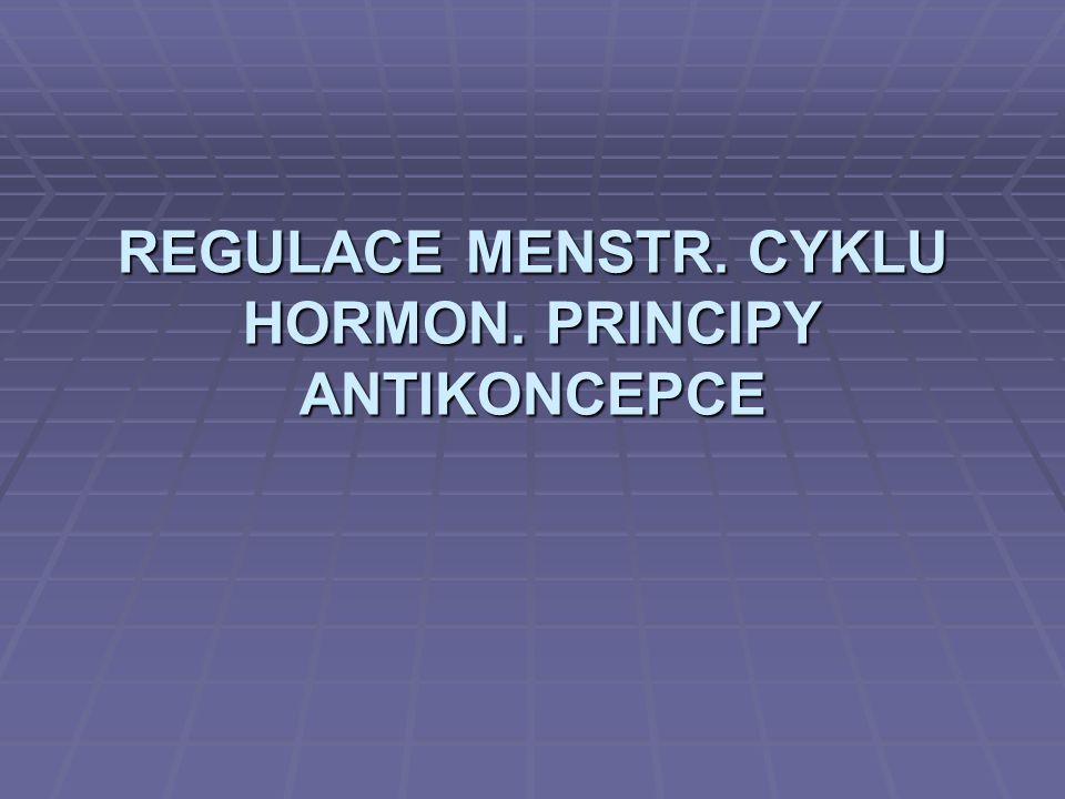 OVARIÁLNÍ CYKLUS I.FÁZE: FOLIKULÁRNÍ  FSH růst primárního folikulu produkce estrogenu  LH  Graafův folikul (ø 1 – 1,5 cm) – růst díky ↑ produkci estrogenů folikulu – zpětně pozitivní působení (autokrinní)  pozitivní zpětná vazba FSH a LH  na konci fáze vrchol LH