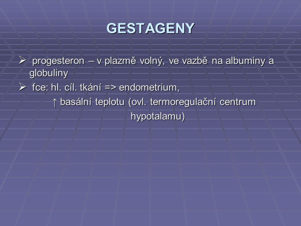 GESTAGENY  progesteron – v plazmě volný, ve vazbě na albuminy a globuliny  fce: hl. cíl. tkání => endometrium, ↑ basální teplotu (ovl. termoregulačn