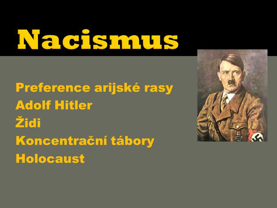  Preference arijské rasy  Adolf Hitler  Židi  Koncentrační tábory  Holocaust