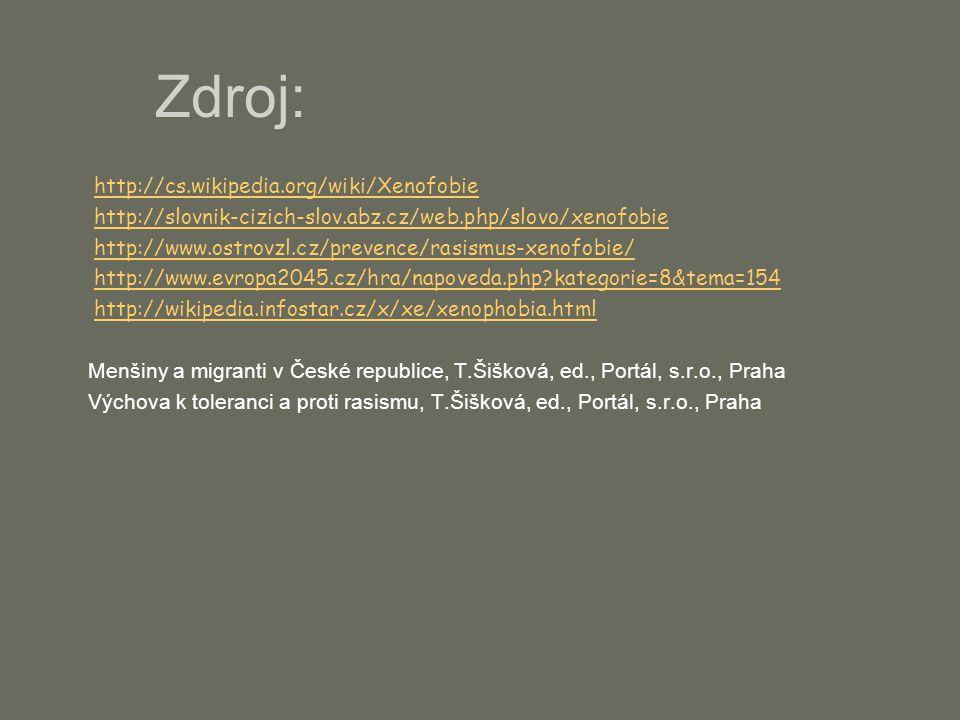 Zdroj:  http://cs.wikipedia.org/wiki/Xenofobie http://cs.wikipedia.org/wiki/Xenofobie  http://slovnik-cizich-slov.abz.cz/web.php/slovo/xenofobie http://slovnik-cizich-slov.abz.cz/web.php/slovo/xenofobie  http://www.ostrovzl.cz/prevence/rasismus-xenofobie/ http://www.ostrovzl.cz/prevence/rasismus-xenofobie/  http://www.evropa2045.cz/hra/napoveda.php kategorie=8&tema=154 http://www.evropa2045.cz/hra/napoveda.php kategorie=8&tema=154  http://wikipedia.infostar.cz/x/xe/xenophobia.html http://wikipedia.infostar.cz/x/xe/xenophobia.html Menšiny a migranti v České republice, T.Šišková, ed., Portál, s.r.o., Praha Výchova k toleranci a proti rasismu, T.Šišková, ed., Portál, s.r.o., Praha