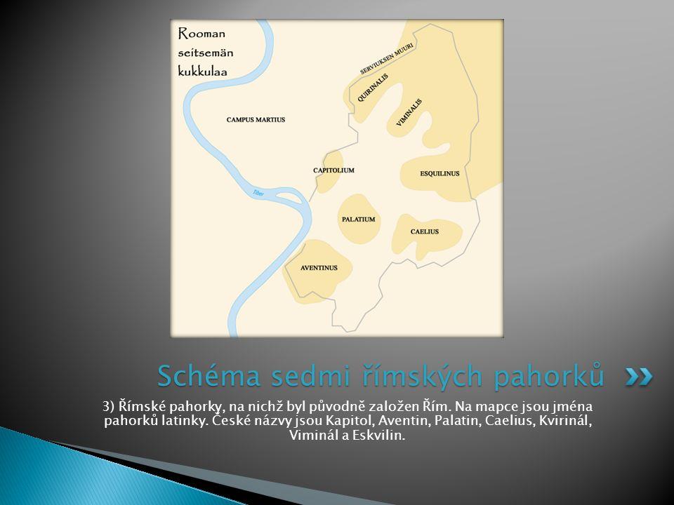 3) Římské pahorky, na nichž byl původně založen Řím. Na mapce jsou jména pahorků latinky. České názvy jsou Kapitol, Aventin, Palatin, Caelius, Kviriná