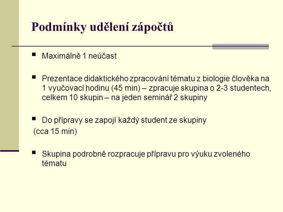Jak zpracovat přípravu na vybrané téma: Dle osnovy pro přípravu hodiny do pedagogického deníku  Postavení tématu v rámci přírodopisného učiva (RVP)  Správně formulované výukové cíle  Analýza učiva:  pojmy nové a opěrné  Mezipředmětové vztahy  Teoretická příprava na hodinu (výklad)  Aktivizace žáků  Kontrolní otázky na závěr hodiny  Náměty na praktická cvičení a exkurze vztahující se k tématu