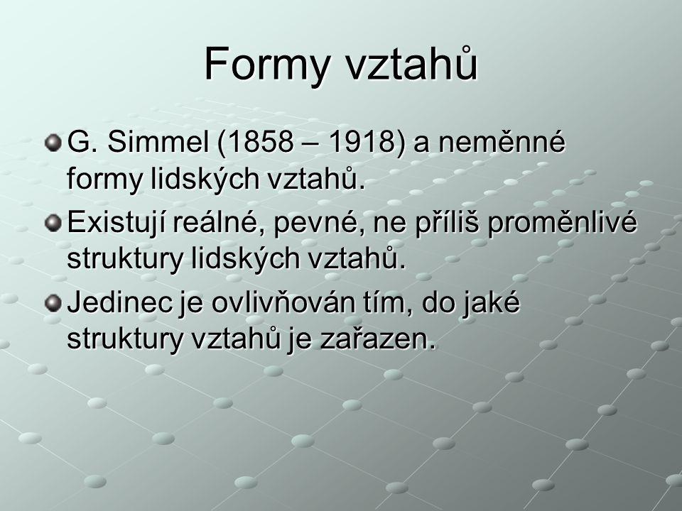 Formy vztahů G. Simmel (1858 – 1918) a neměnné formy lidských vztahů.