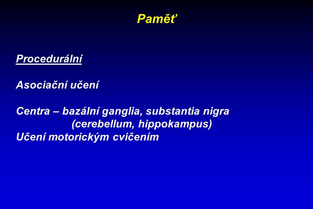 Paměť Procedurální Asociační učení Centra – bazální ganglia, substantia nigra (cerebellum, hippokampus) Učení motorickým cvičením