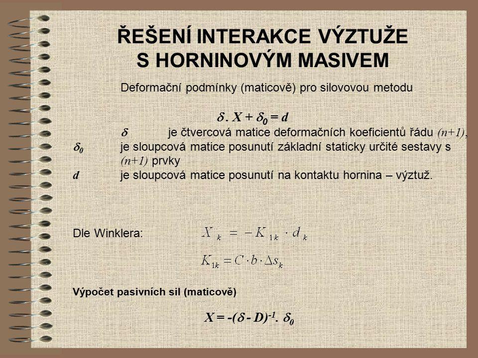 ŘEŠENÍ INTERAKCE VÝZTUŽE S HORNINOVÝM MASIVEM Deformační podmínky (maticově) pro silovovou metodu . X +  0 = d  je čtvercová matice deformačních k