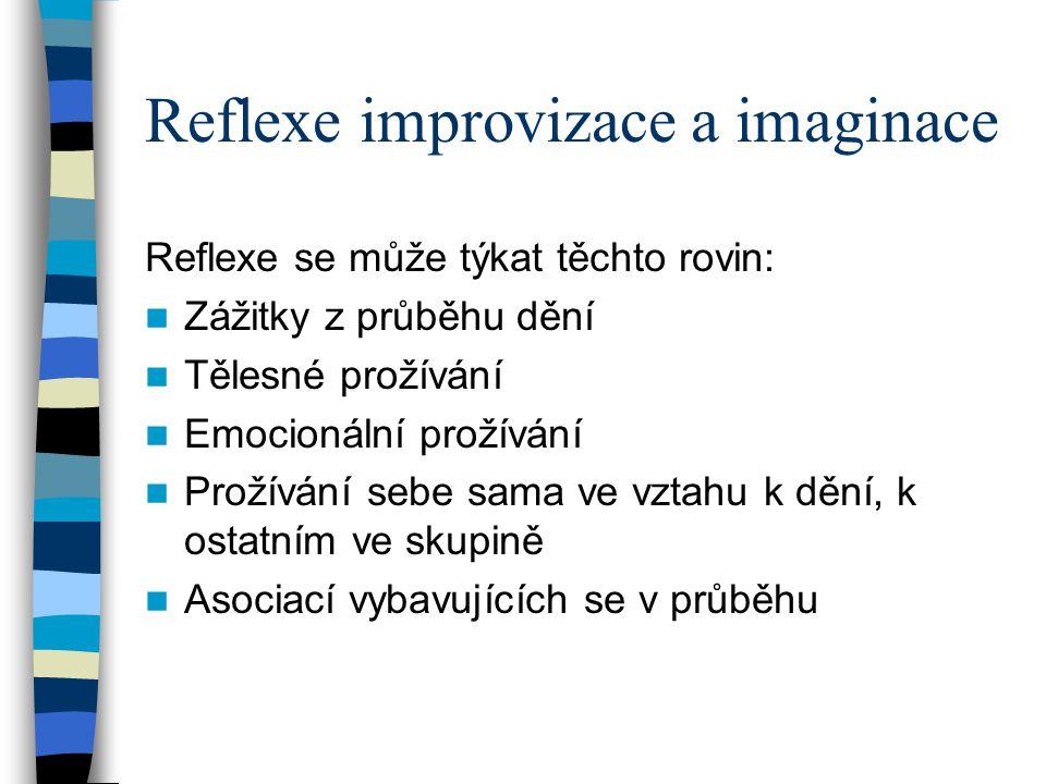 Reflexe improvizace a imaginace Reflexe se může týkat těchto rovin: Zážitky z průběhu dění Tělesné prožívání Emocionální prožívání Prožívání sebe sama ve vztahu k dění, k ostatním ve skupině Asociací vybavujících se v průběhu