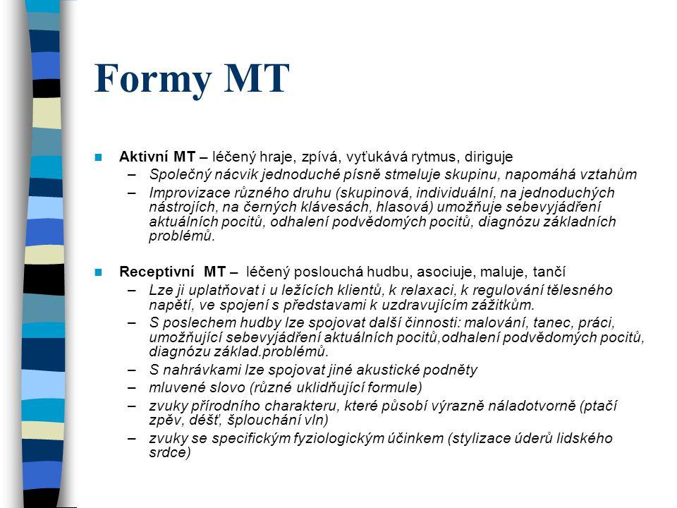 Formy MT Aktivní MT – léčený hraje, zpívá, vyťukává rytmus, diriguje –Společný nácvik jednoduché písně stmeluje skupinu, napomáhá vztahům –Improvizace