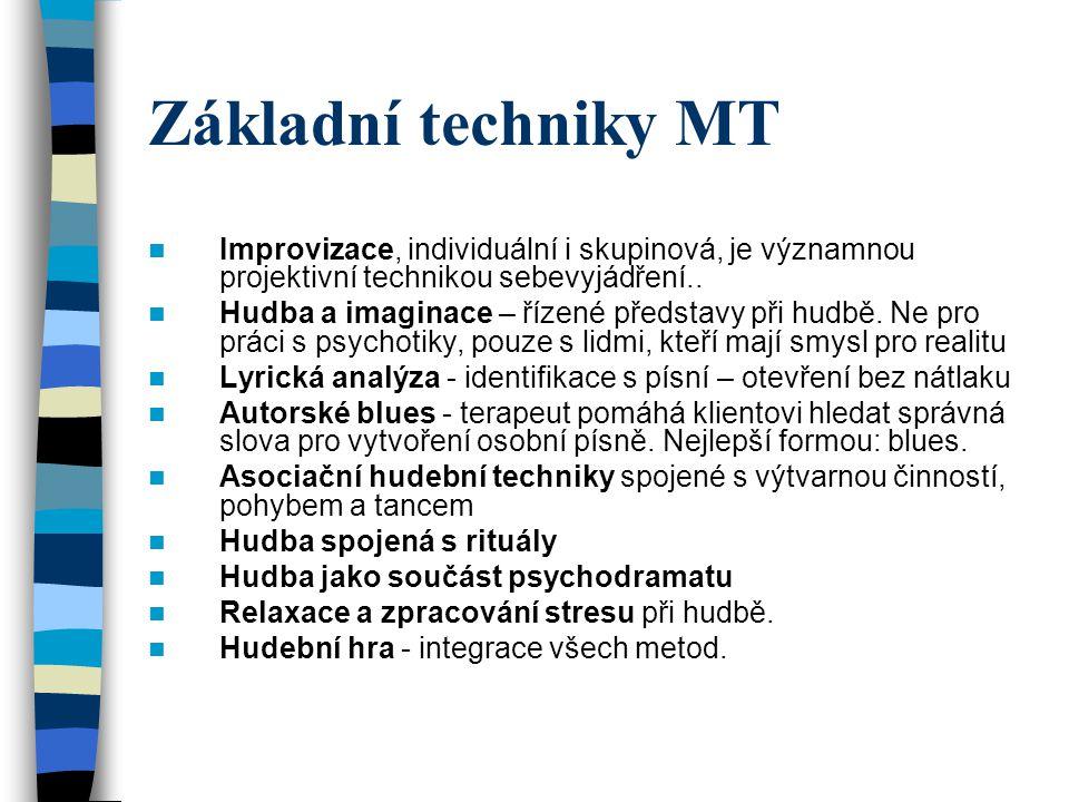 Základní techniky MT Improvizace, individuální i skupinová, je významnou projektivní technikou sebevyjádření.. Hudba a imaginace – řízené představy př