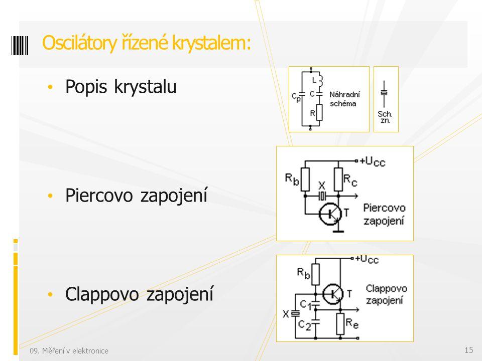 Popis krystalu Piercovo zapojení Clappovo zapojení Oscilátory řízené krystalem: 09.