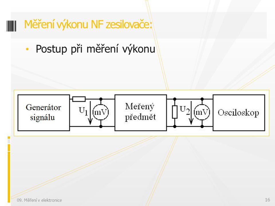 Postup při měření výkonu Měření výkonu NF zesilovače: 09. Měření v elektronice 16