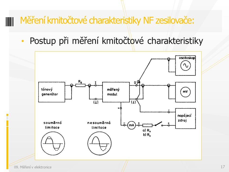 Postup při měření kmitočtové charakteristiky Měření kmitočtové charakteristiky NF zesilovače: 09.