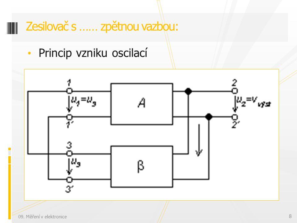 Princip vzniku oscilací Zesilovač s …… zpětnou vazbou: 09. Měření v elektronice 8