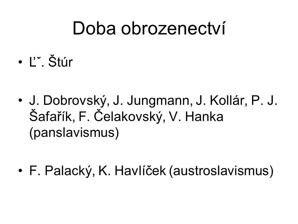 Doba obrozenectví Ľˇ. Štúr J. Dobrovský, J. Jungmann, J.