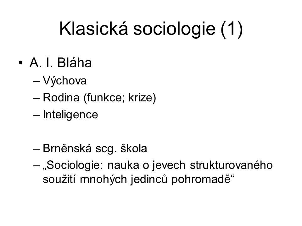 Klasická sociologie (1) A. I. Bláha –Výchova –Rodina (funkce; krize) –Inteligence –Brněnská scg.