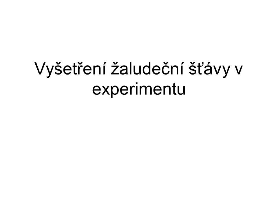 Vyšetření žaludeční šťávy v experimentu