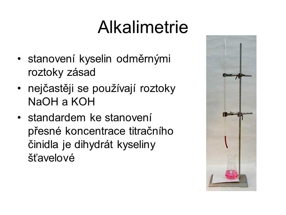 Alkalimetrie stanovení kyselin odměrnými roztoky zásad nejčastěji se používají roztoky NaOH a KOH standardem ke stanovení přesné koncentrace titračníh