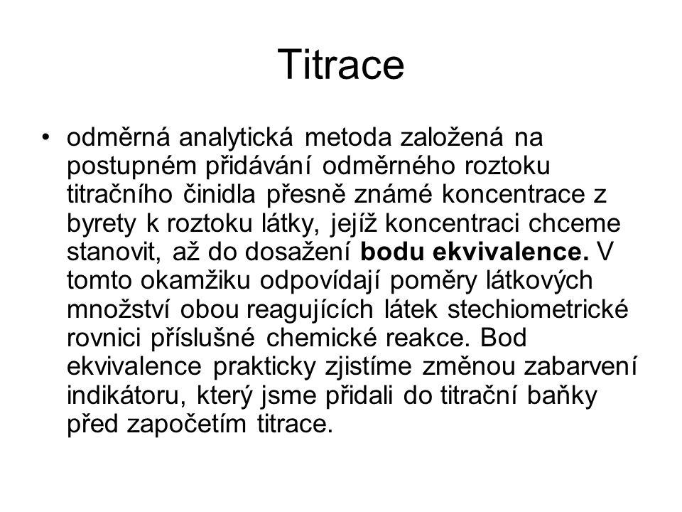 Titrace odměrná analytická metoda založená na postupném přidávání odměrného roztoku titračního činidla přesně známé koncentrace z byrety k roztoku lát