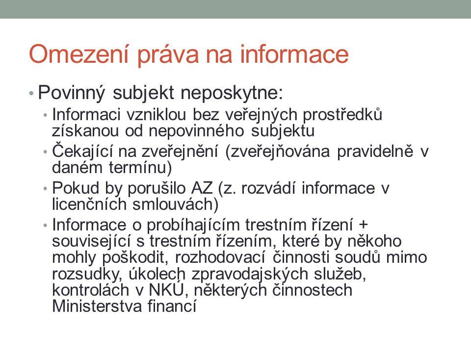 Omezení práva na informace Povinný subjekt neposkytne: Informaci vzniklou bez veřejných prostředků získanou od nepovinného subjektu Čekající na zveřejnění (zveřejňována pravidelně v daném termínu) Pokud by porušilo AZ (z.