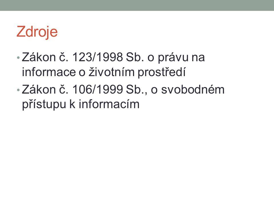 Zdroje Zákon č. 123/1998 Sb. o právu na informace o životním prostředí Zákon č. 106/1999 Sb., o svobodném přístupu k informacím