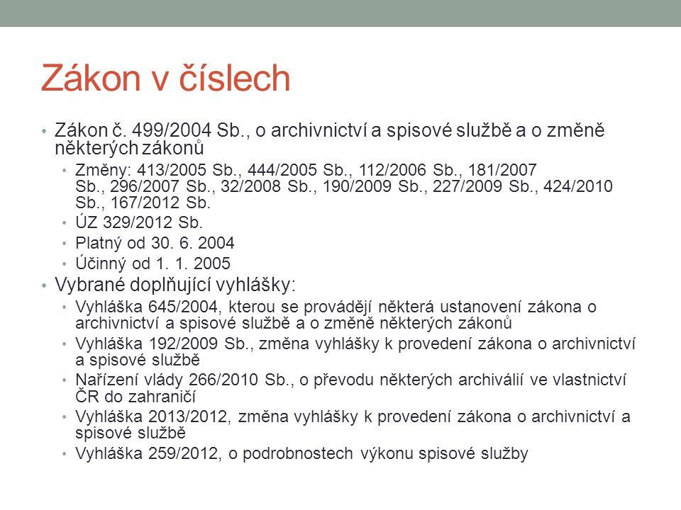 Zákon v číslech Zákon č. 499/2004 Sb., o archivnictví a spisové službě a o změně některých zákonů Změny: 413/2005 Sb., 444/2005 Sb., 112/2006 Sb., 181