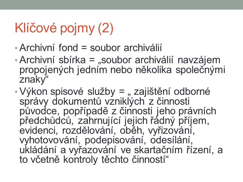 """Klíčové pojmy (2) Archivní fond = soubor archiválií Archivní sbírka = """"soubor archiválií navzájem propojených jedním nebo několika společnými znaky"""" V"""