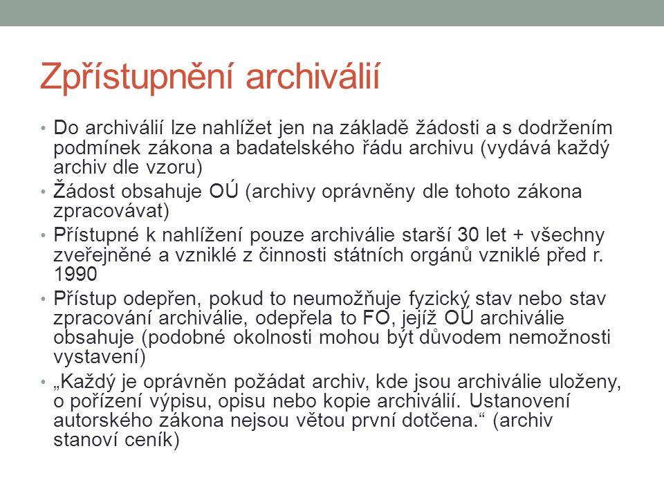 Zpřístupnění archiválií Do archiválií lze nahlížet jen na základě žádosti a s dodržením podmínek zákona a badatelského řádu archivu (vydává každý arch