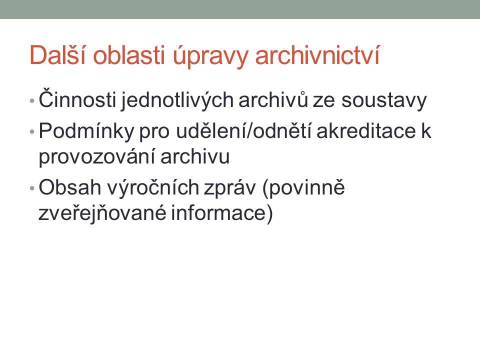 Další oblasti úpravy archivnictví Činnosti jednotlivých archivů ze soustavy Podmínky pro udělení/odnětí akreditace k provozování archivu Obsah výročních zpráv (povinně zveřejňované informace)