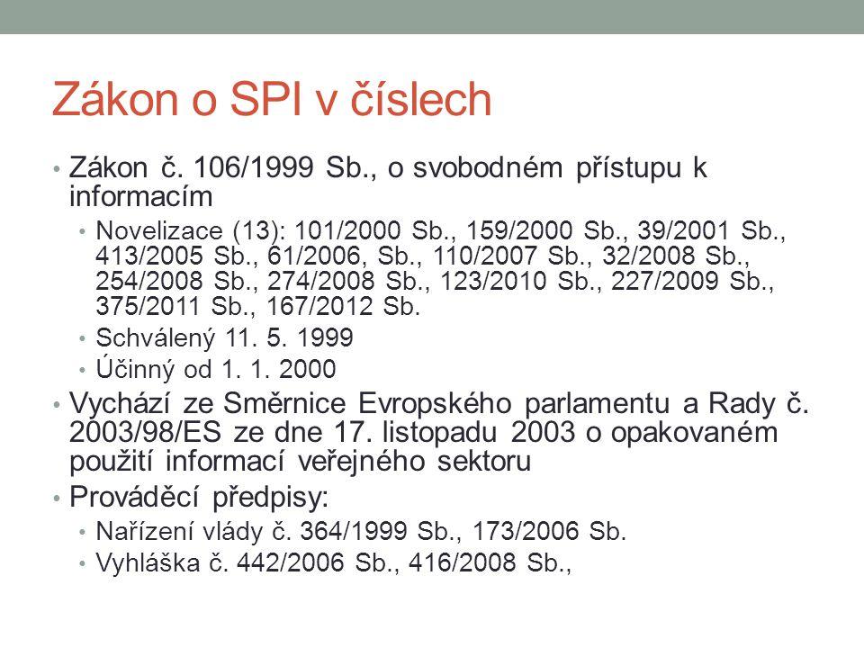 Zákon o SPI v číslech Zákon č. 106/1999 Sb., o svobodném přístupu k informacím Novelizace (13): 101/2000 Sb., 159/2000 Sb., 39/2001 Sb., 413/2005 Sb.,
