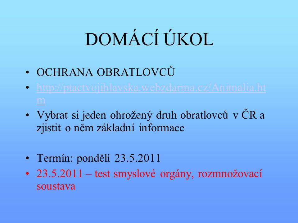 DOMÁCÍ ÚKOL OCHRANA OBRATLOVCŮ http://ptactvojihlavska.webzdarma.cz/Animalia.ht mhttp://ptactvojihlavska.webzdarma.cz/Animalia.ht m Vybrat si jeden oh