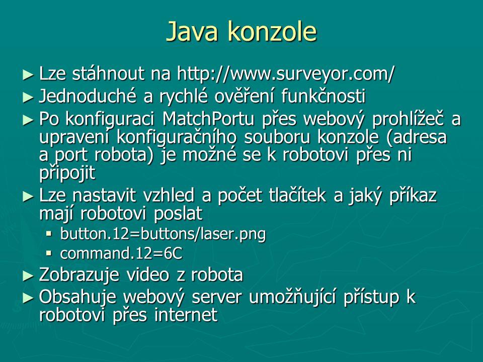 Java konzole ► Lze stáhnout na http://www.surveyor.com/ ► Jednoduché a rychlé ověření funkčnosti ► Po konfiguraci MatchPortu přes webový prohlížeč a u