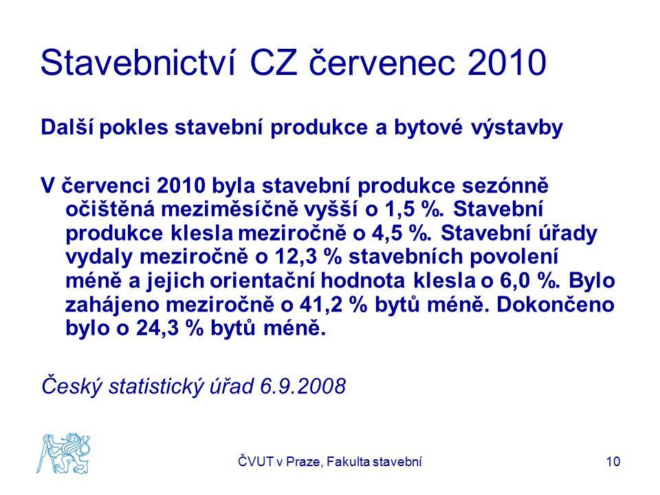 Stavebnictví CZ červenec 2010 Další pokles stavební produkce a bytové výstavby V červenci 2010 byla stavební produkce sezónně očištěná meziměsíčně vyšší o 1,5 %.
